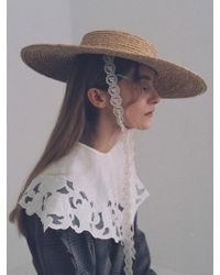 Awesome Needs - Raffia Straw Boater Hat_lace Ribbon - Lyst