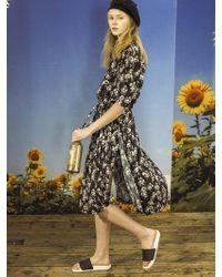 OUAHSOMMET - Flower Pleats Dress Black - Lyst