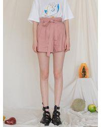among - A Linen Banding Shorts - Pink - Lyst