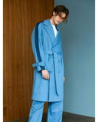 BONNIE&BLANCHE - Denim Two Tone Trench Coat Blue - Lyst
