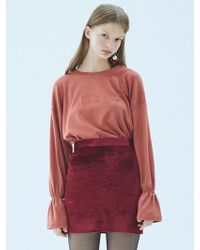 MIGNONNEUF - Neuf Velvet Skirt Burgundy - Lyst