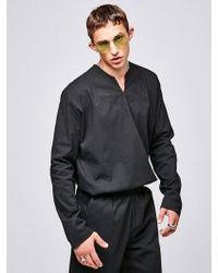 YAN13 - V Neck Long Shirts Black - Lyst