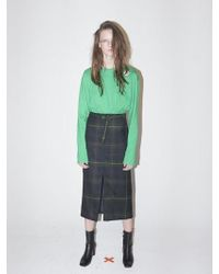 Bouton - Belted Slit Skirt-green Check - Lyst