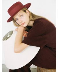 Awesome Needs - Lambs Wool Boater Hat_burgundy - Lyst