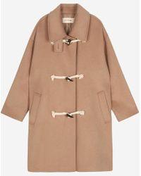 a.t.corner - Beige Mixed Cotton Side Pocket Double Coat - Lyst