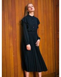 LIUNICK - Belted Frill Pleat Dress Black - Lyst