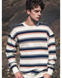 F.ILLUMINATE - [unisex] Wood Border Sweat Shirt Navy - Lyst
