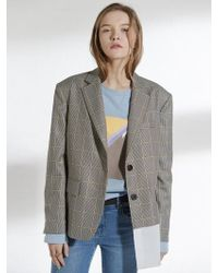 Clue de Clare - Oversized Shirts Detail Jacket Check - Lyst