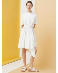 MILLOGREM - Draped Shirts Dress - White - Lyst