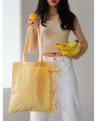FUNFROMFUN - Ribbon Detailed Cotton Bag Yellow - Lyst