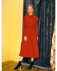 LIUNICK - Belted Frill Pleat Dress Orange - Lyst