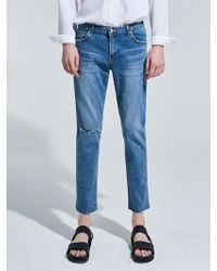 YAN13 - Washing Blue Cutting Jean Denim - Lyst