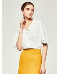 LIUNICK - Limit Frill Linen Blouse White - Lyst