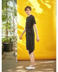 COLLABOTORY - Black Draping Wrap Dress - Lyst