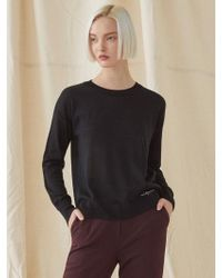 MILLOGREM - Simple Round Neck Knitwear - Black - Lyst