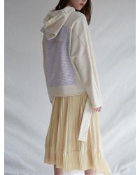 W Concept - Mm Check Hoodie Cream - Lyst