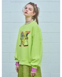 W Concept - [unisex] Cross Over Print Sweatshirt - Lime Green - Lyst