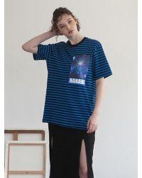 TARGETTO - Hanani Stripe T-shirt Black Blue - Lyst