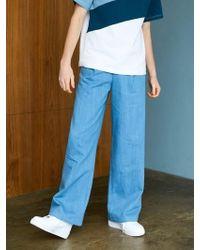 BONNIE&BLANCHE - Denim Two Tone Wide Trousers Blue - Lyst