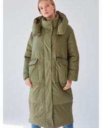 PLOT - Big Pocket Goose Hood Long Padding_khaki - Lyst