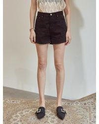 YAN13 - Urban Black Denim Shorts Black - Lyst