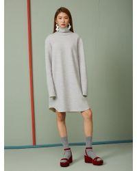 Aheit - Double Weaving Wool High Neck Dress Melange Grey - Lyst