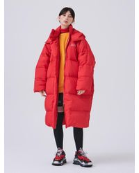 ANOTHER A - Oversized Long Down Jacket Red - Lyst