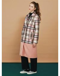 Margarin Fingers - Pink Check Long Coat - Lyst