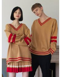 TARGETTO - [unisex] V-neck Line Knitwear Beige - Lyst