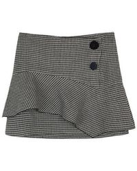 a.t.corner - Houndstooth Pattern Frill Skirt In Black - Lyst