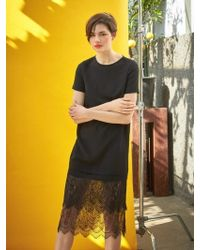 COLLABOTORY - Black See-through Lace Dress - Lyst