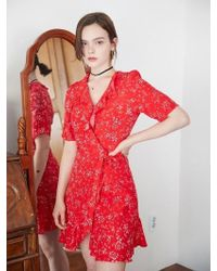 W Concept - Ruffle Point Flower Red Wrap Dress - Lyst