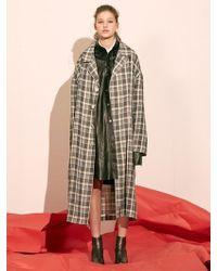 W Concept - Gray Check Mac Coat - Lyst