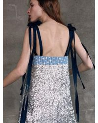 THE ASHLYNN - Aimee Double Tie Knot Sequins And Star Denim Mini Dress - Lyst