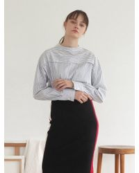 TARGETTO - High Neck Blouse Grey Stripe - Lyst