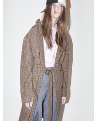 Bouton - Houndtooth Check Coat-brown Check - Lyst