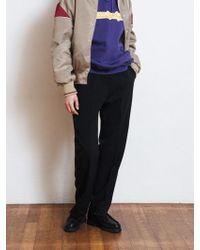 W Concept - Side Banding Semi Wide Pants Brown Black - Lyst