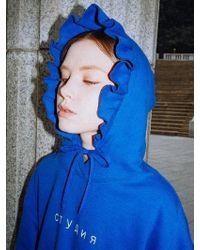 CLUT STUDIO - 0 4 Studio Ruffle Hoody - Blue - Lyst