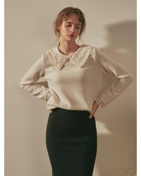 YAN13 - Bloom Flat Collar Knit Ivory - Lyst