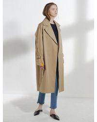 Clue de Clare - Placket Sleeve Trench Coat Beige - Lyst