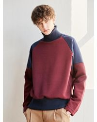 BONNIE&BLANCHE - Warm Raglan High Neck Sweatshirt Burgundy - Lyst