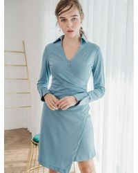 W Concept - Blue Shirring Dress - Lyst