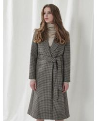 a.t.corner - Brown Hound Tooth Check Belted Long Coat Amco7d - Lyst