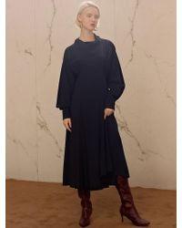 W Concept - Celina Scarf Pleats Dress Atb218w Navy - Lyst