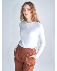 AYIHOLIC CASHMERE - Special Item Pearl Button Knit Top White - Lyst