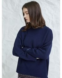 MILLOGREM - Embroideried Cuffs Sweater Navy - Lyst
