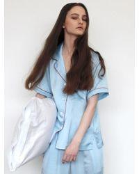 W Concept - Pastel Short Sleeve Pj Shirt - Misty Sky - Lyst