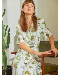 PLOT - Flower Wrap Dress Ivory - Lyst