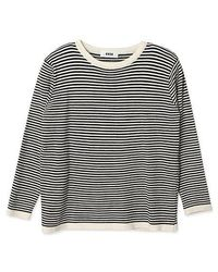 a.t.corner - Atd06dc01bk Striped Knit Top In Black And White - Lyst