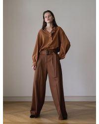AEER - Solid Wide Wool Trousers Brown - Lyst